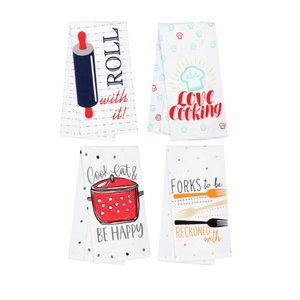 Other - Set of 4 Kitchen Towels, Printed Flour Sack Cotton